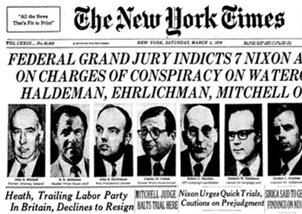 a newspaper clipping of the nixon indictments