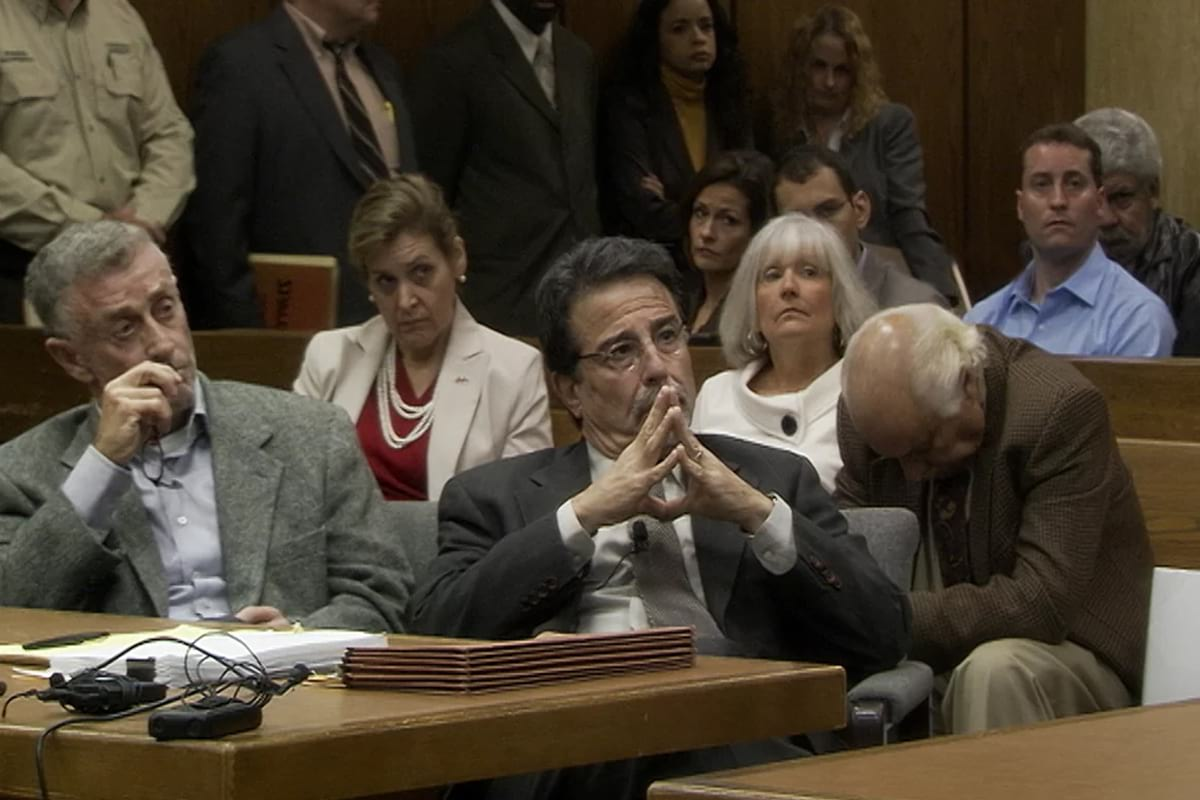 David Rudolf and Michael Peterson in the courtroom